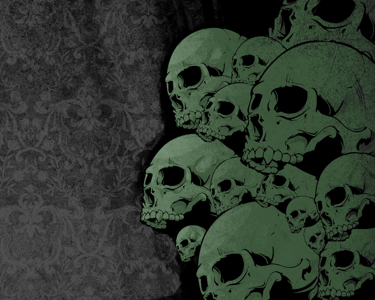 green skull, background, texture, photo, green skulls texture background