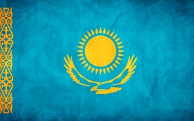 Казахстан, казахский флаг, текстура флага, фон, flag background, Kazakstan